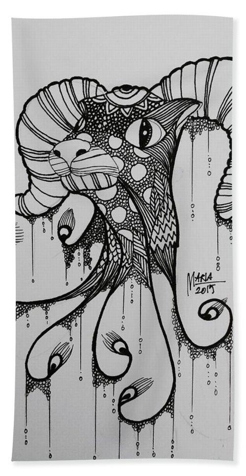 Zodiac Bath Sheet featuring the drawing Aries by Maria Leah Comillas