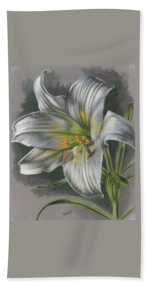 Easter Lily Bath Sheet featuring the mixed media Arise by Barbara Keith