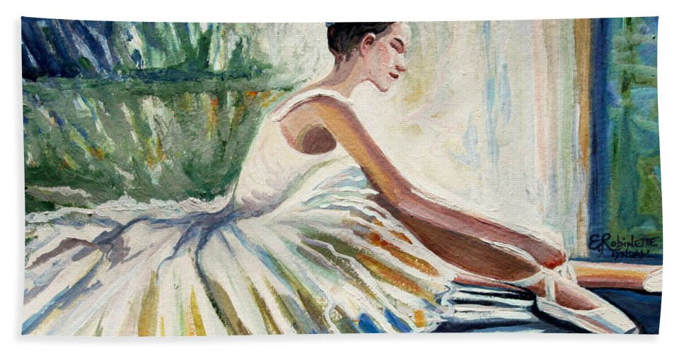 Ballerina Bath Sheet featuring the painting Arise by Elizabeth Robinette Tyndall
