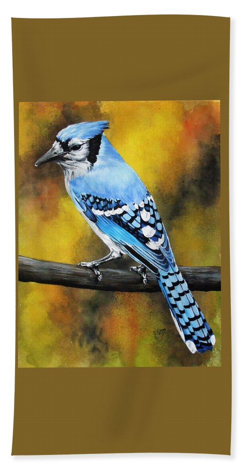 Common Bird Hand Towel featuring the painting Aristocrat by Barbara Keith