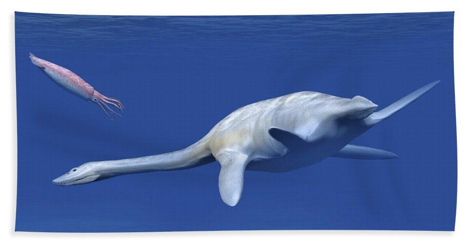 Horizontal Bath Sheet featuring the digital art Aristonectes Plesiosaur Attempts by Nobumichi Tamura