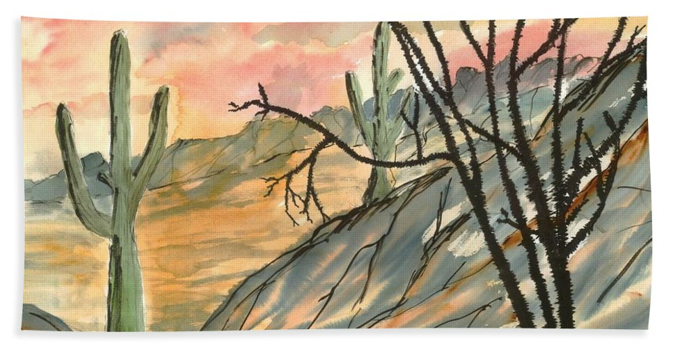 Drawing Bath Towel featuring the painting Arizona Evening Southwestern landscape painting poster print by Derek Mccrea