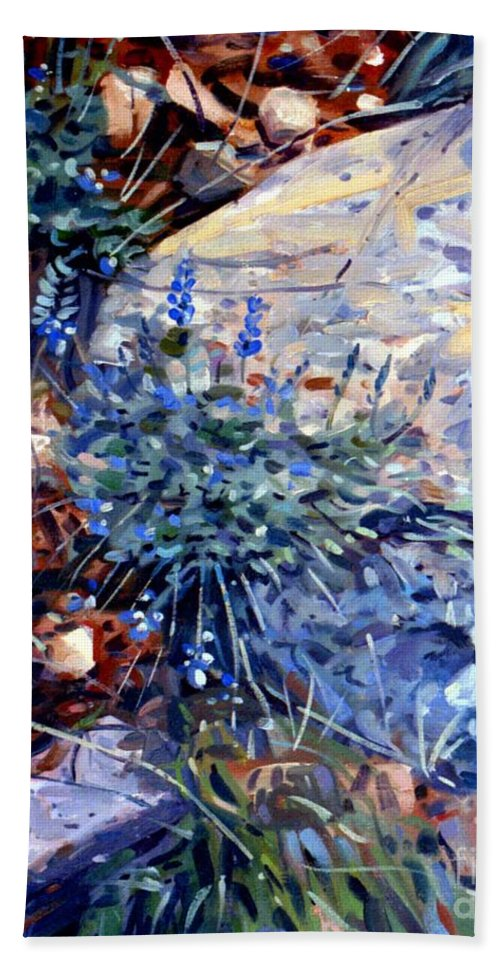 Blue Lupens Hand Towel featuring the painting Arizona Flora Study by Donald Maier