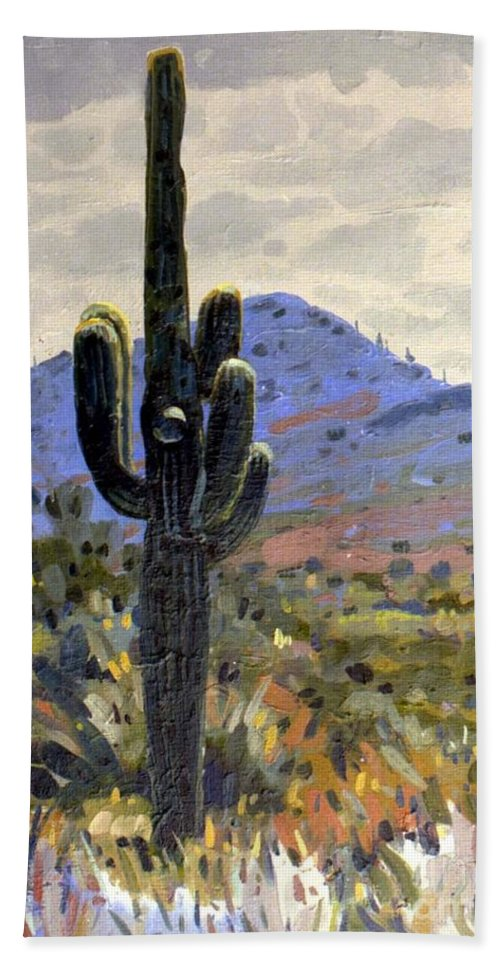 Saguaro Cactus Bath Sheet featuring the painting Arizona Icon by Donald Maier