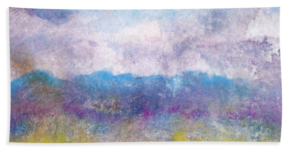 Abstract Hand Towel featuring the painting Arizona Impressions by Jan Bennicoff