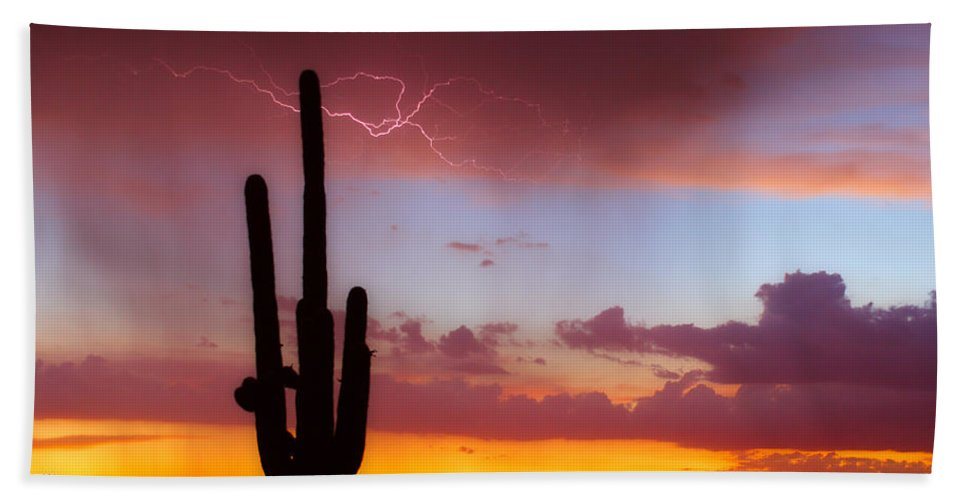 Arizona Bath Sheet featuring the photograph Arizona Lightning Sunset by James BO Insogna