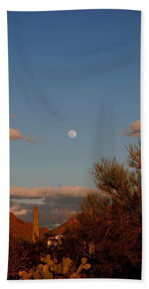 Arizona Bath Sheet featuring the photograph Arizona Moon II by Susanne Van Hulst