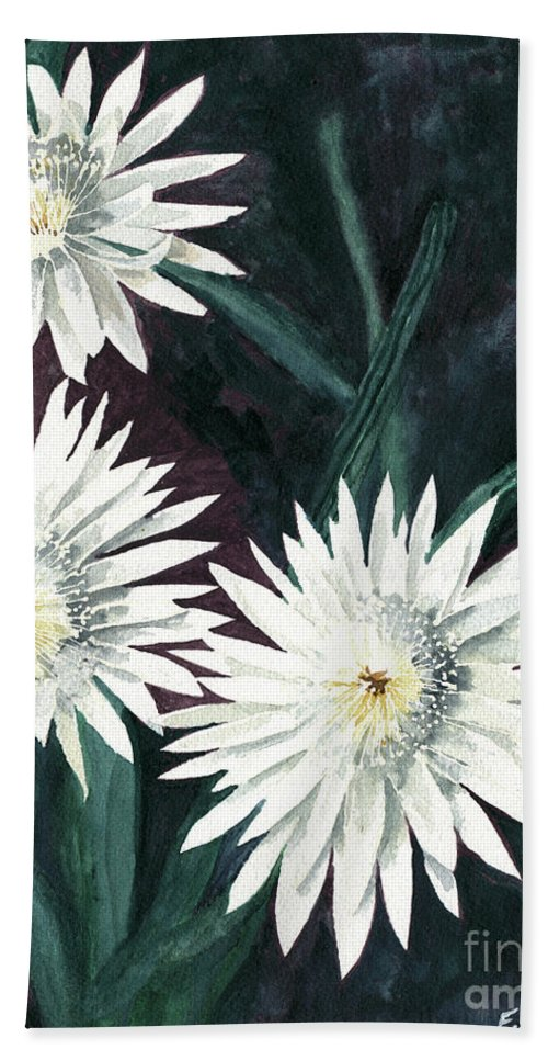 Cactus Bath Sheet featuring the painting Arizona-queen Of The Night by Eric Samuelson