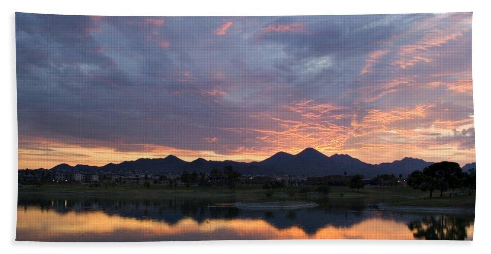 Arizona Bath Sheet featuring the photograph Arizona Sunset by Renee Hong