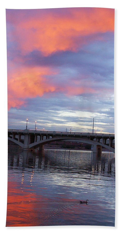 Lake Hand Towel featuring the photograph Arizona Tempe Town Lake by Jill Reger