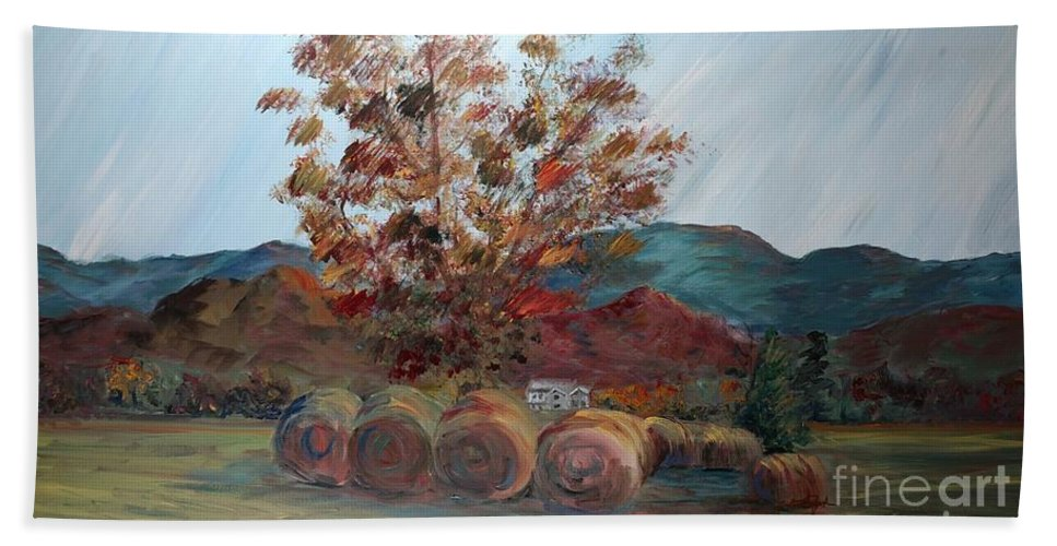 Autumn Bath Sheet featuring the painting Arkansas Autumn by Nadine Rippelmeyer
