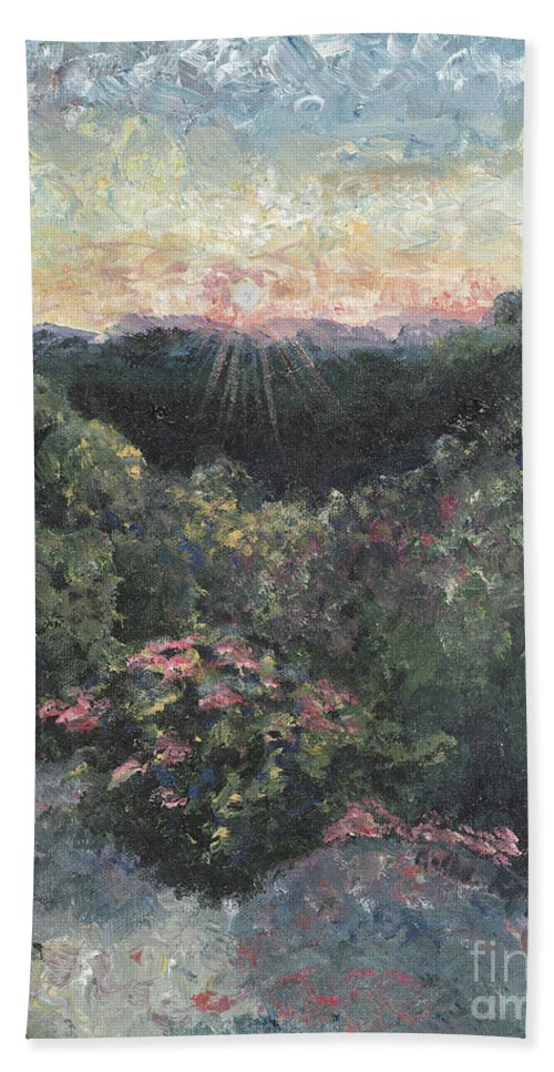 Landscape Bath Sheet featuring the painting Arkansas Mountain Sunset by Nadine Rippelmeyer