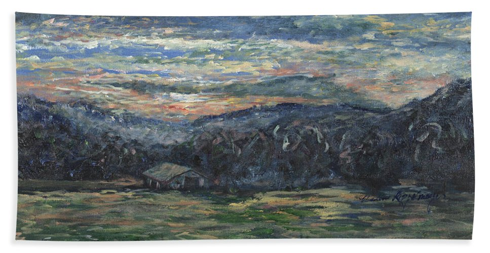 Impressionism Bath Sheet featuring the painting Arkansas Sunrise by Nadine Rippelmeyer