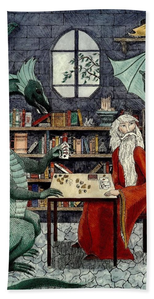 Dragon Bath Sheet featuring the painting Arleas And The Wizard - Green by Donna Forsyth