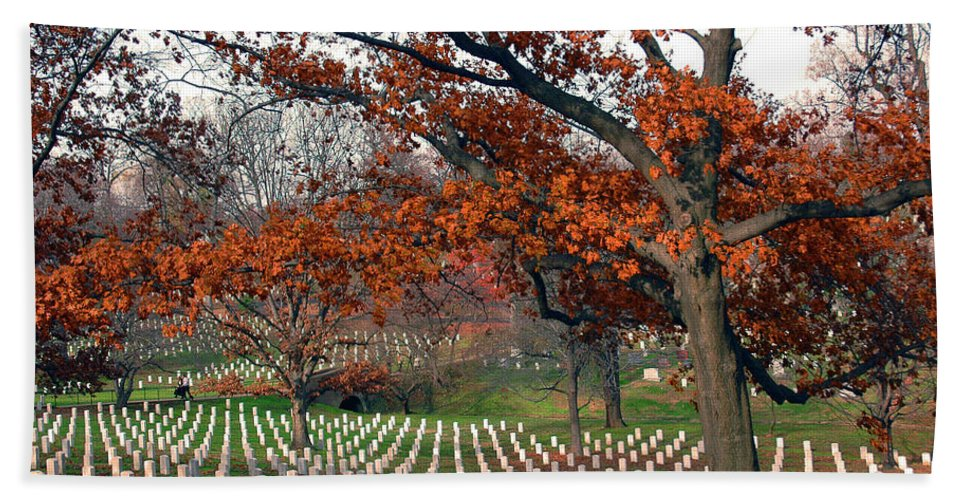 Veteran Bath Sheet featuring the photograph Arlington Cemetery In Fall by Carolyn Marshall