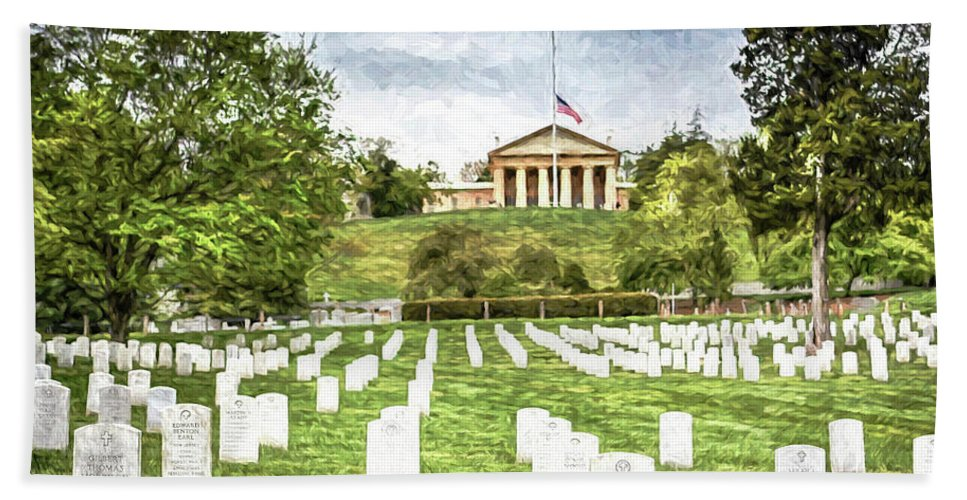 Arlington National Cemetery United States Military Arlington County Hand Towel featuring the photograph Arlington House Half Mast by Michael Rankin