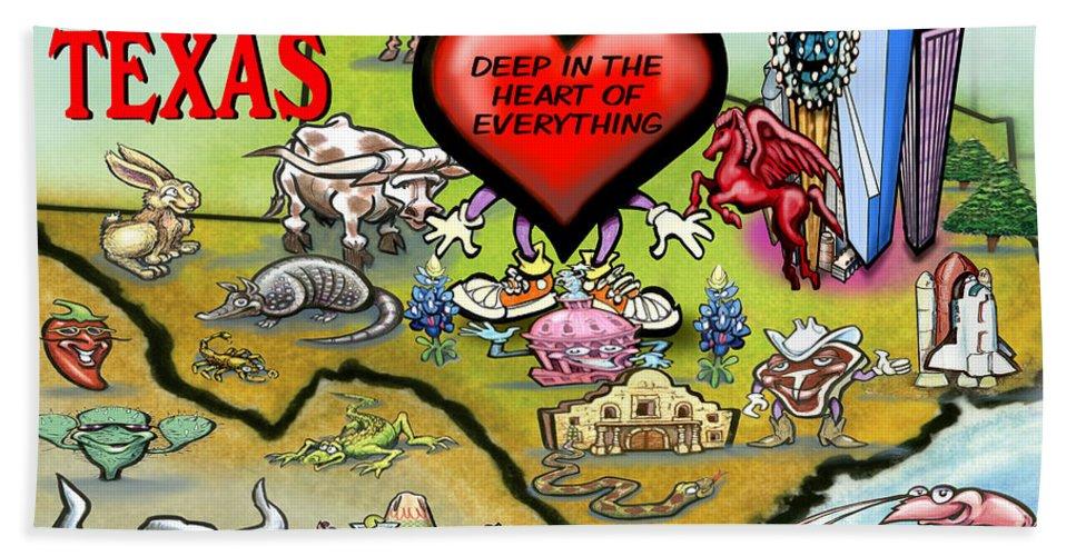 Arlington Bath Sheet featuring the digital art Arlington Texas Cartoon Map by Kevin Middleton
