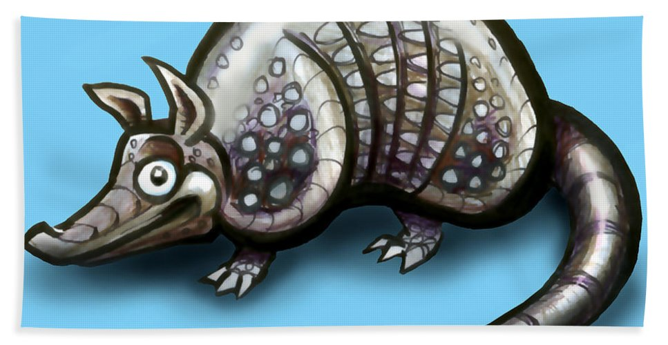 Armadillo Hand Towel featuring the greeting card Armadillo by Kevin Middleton