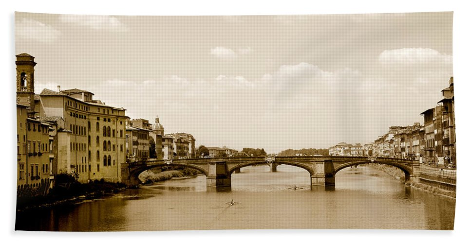Italy Hand Towel featuring the photograph Arno River Florence by Marilyn Hunt
