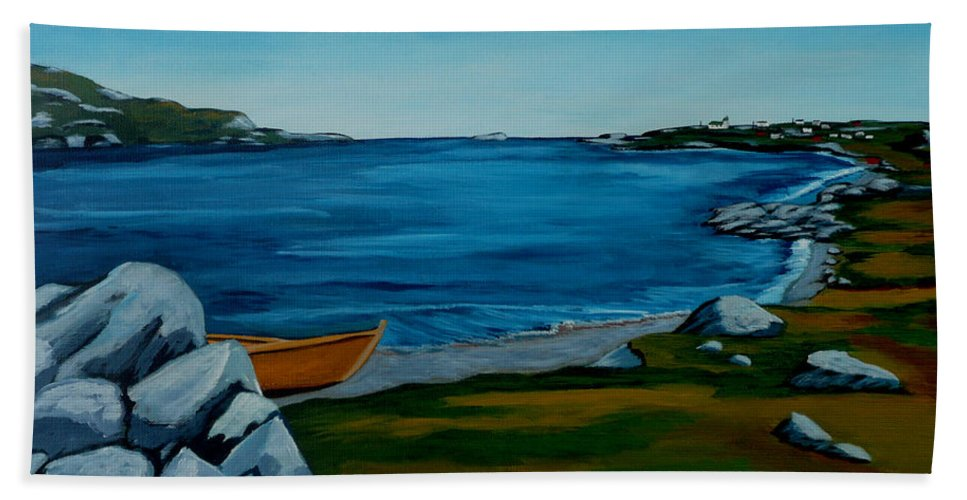 Beach Hand Towel featuring the painting Around The Bay by Anthony Dunphy