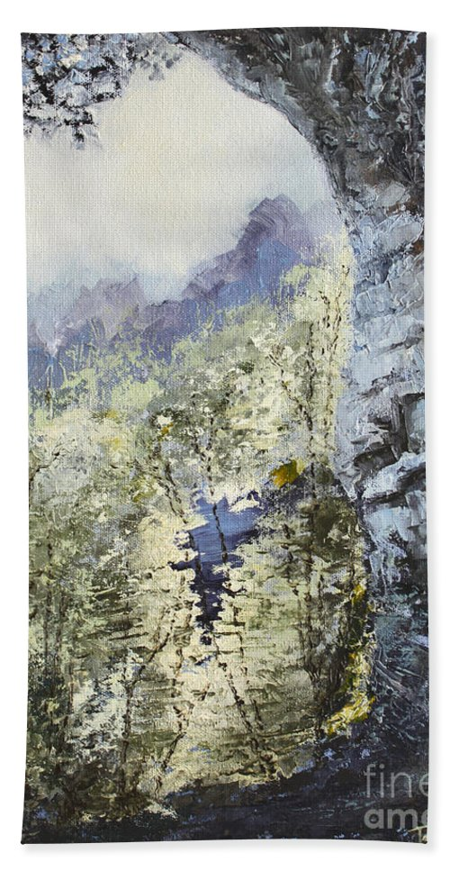 Landscape Bath Towel featuring the painting Around The Bend by Todd Blanchard