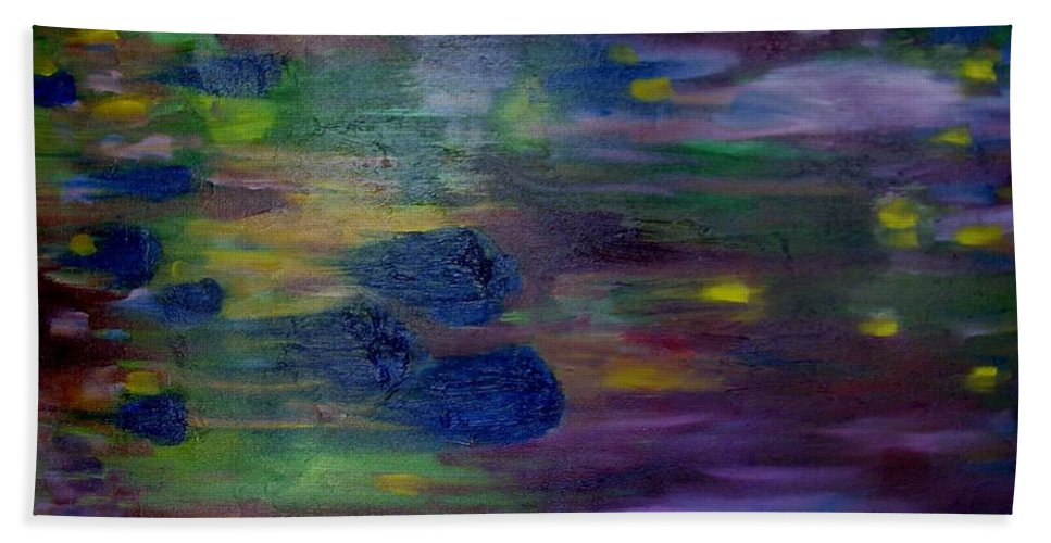 Abstract Hand Towel featuring the painting Around The Worlds by Laurie Morgan