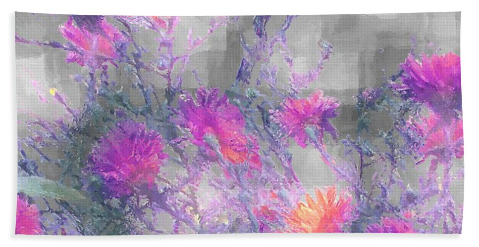 Cornflowers Bath Sheet featuring the painting Arrangement In Plaid by RC DeWinter