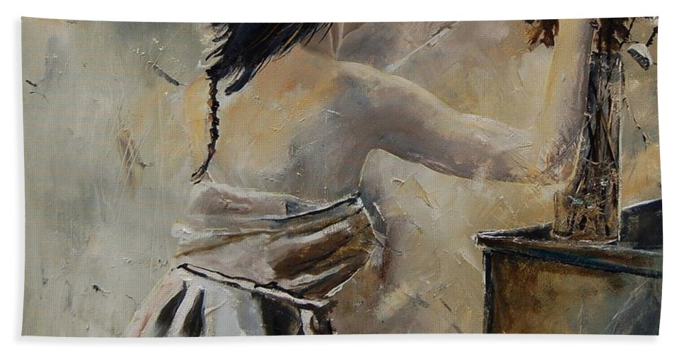 Girl Bath Towel featuring the painting Arranging Flowers by Pol Ledent