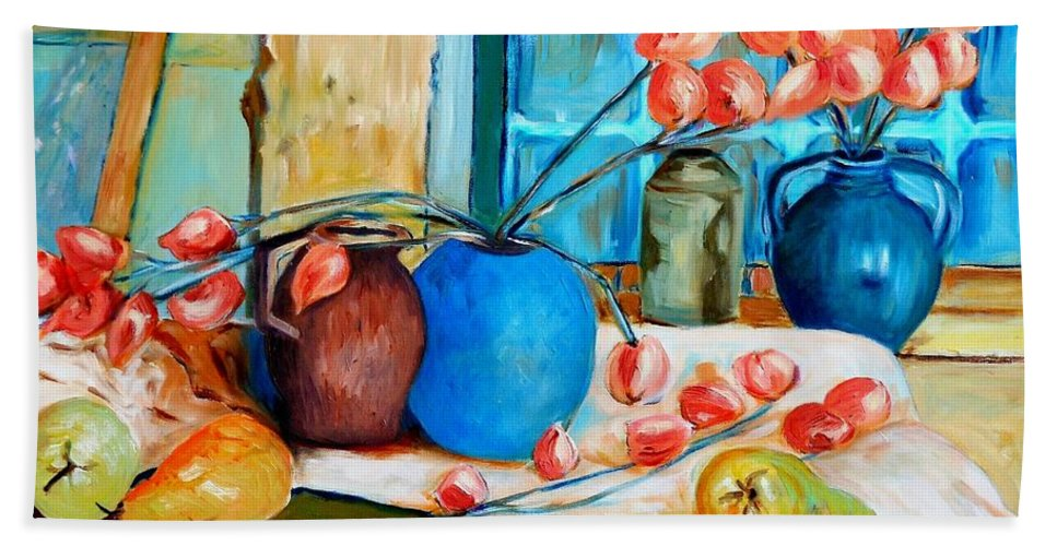 Still Life Bath Towel featuring the painting Arranging The Flowers by Caroline Street