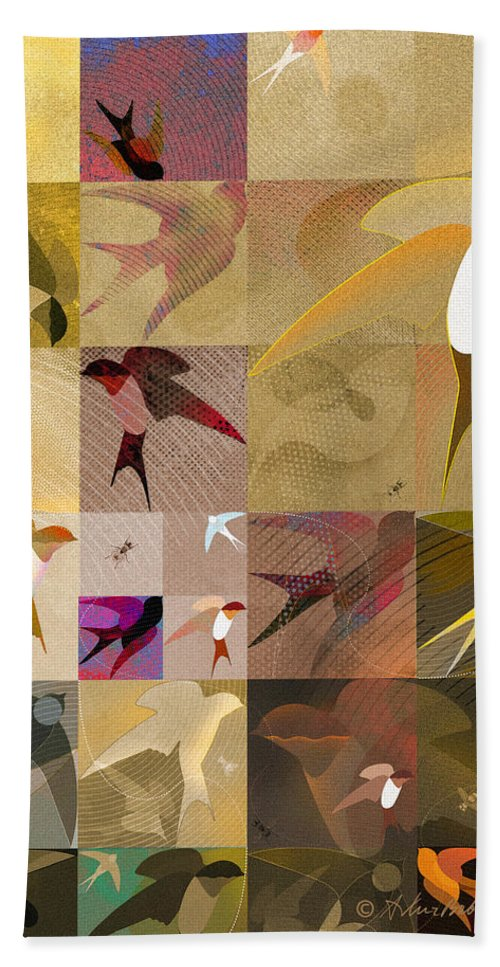 Graphics Hand Towel featuring the drawing Arraygraphy - Birdies Sepia, Part 1 by Arthur Babiarz