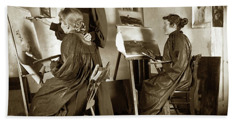 Workshop Hand Towel featuring the photograph Art Class Oil Painting Teacher And Art Students 1900 by California Views Archives Mr Pat Hathaway Archives