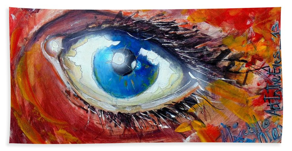 Abstract Bath Sheet featuring the painting Art In The Eyes by Marcello Cicchini