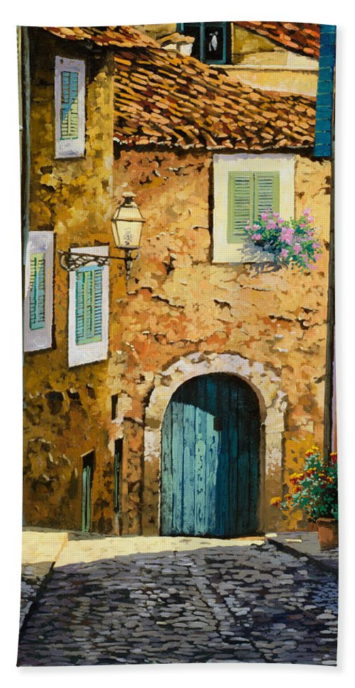 Landscape Hand Towel featuring the painting Arta-mallorca by Guido Borelli