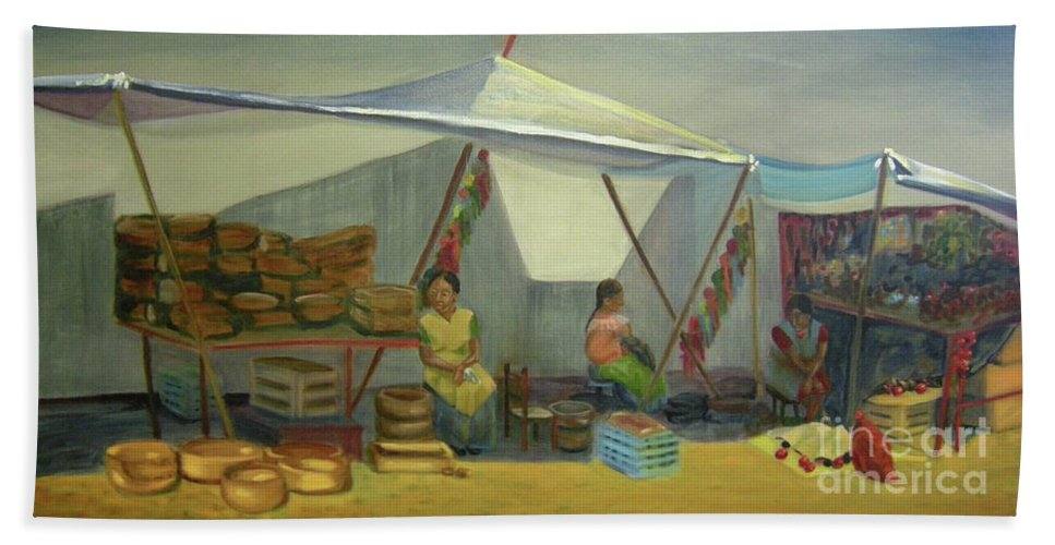 Mexico Bath Towel featuring the painting Artesanas by Lilibeth Andre