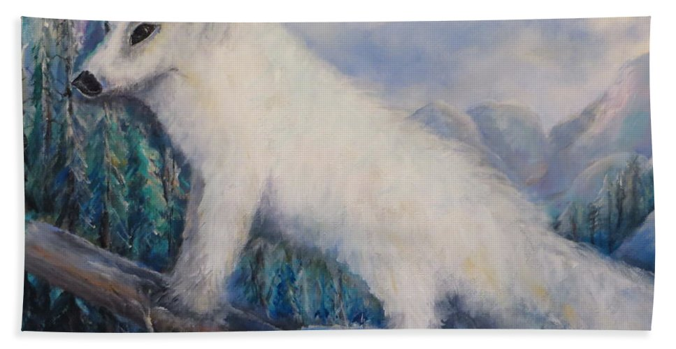 Artic Hand Towel featuring the painting Artic Fox by Bernadette Krupa