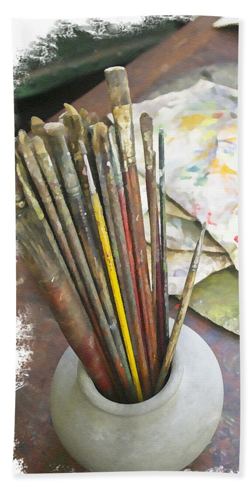 Artist Bath Towel featuring the photograph Artist Brushes by Margie Wildblood