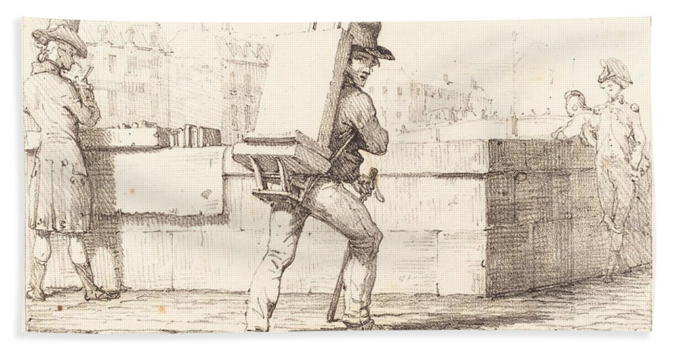 Hand Towel featuring the drawing Artist Carrying Easel With A Lithographic Stone by Horace Vernet