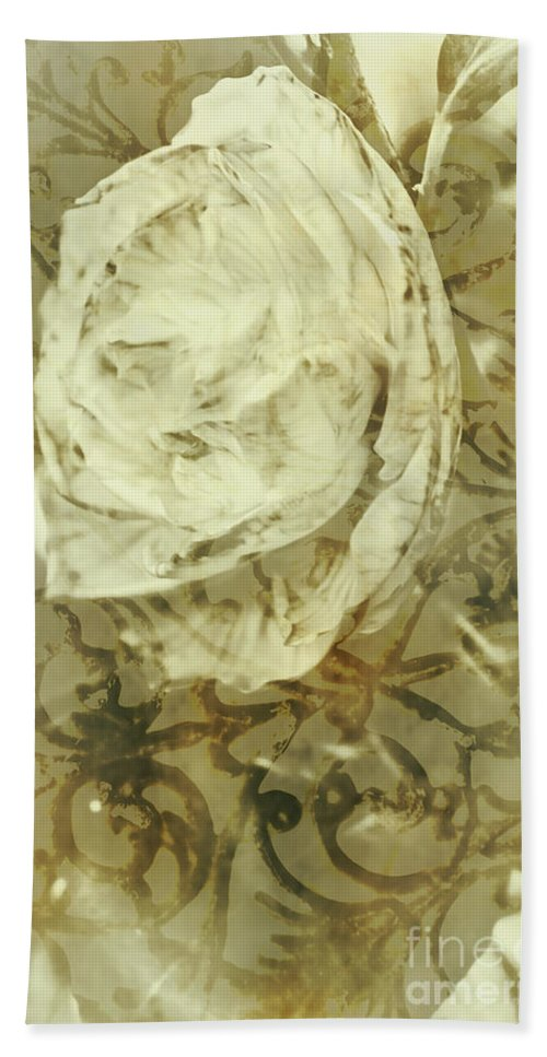 Artwork Bath Towel featuring the photograph Artistic Vintage Floral Art With Double Overlay by Jorgo Photography - Wall Art Gallery