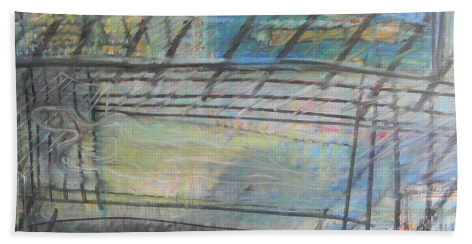 Artists Bath Sheet featuring the painting Artists' Cemetery by Marwan George Khoury