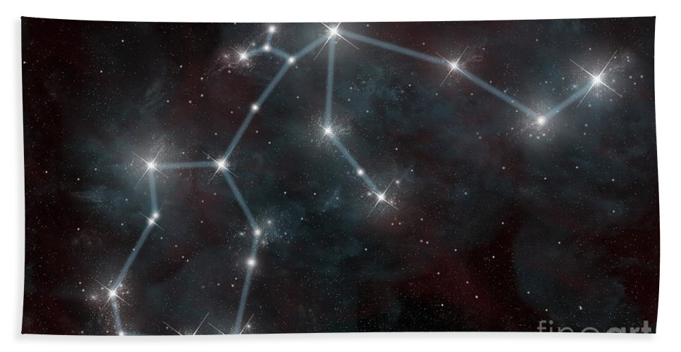Astrology Bath Sheet featuring the digital art Artists Depiction Of The Constellation by Marc Ward
