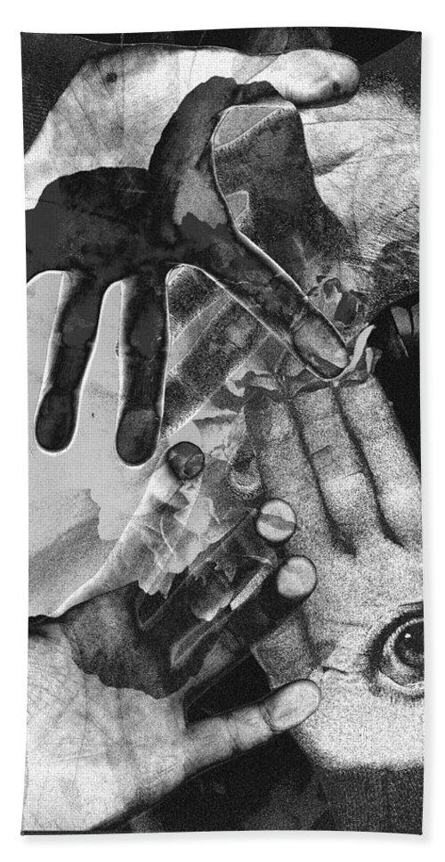 Hands Bath Towel featuring the photograph Artist's Hands by Nancy Mueller