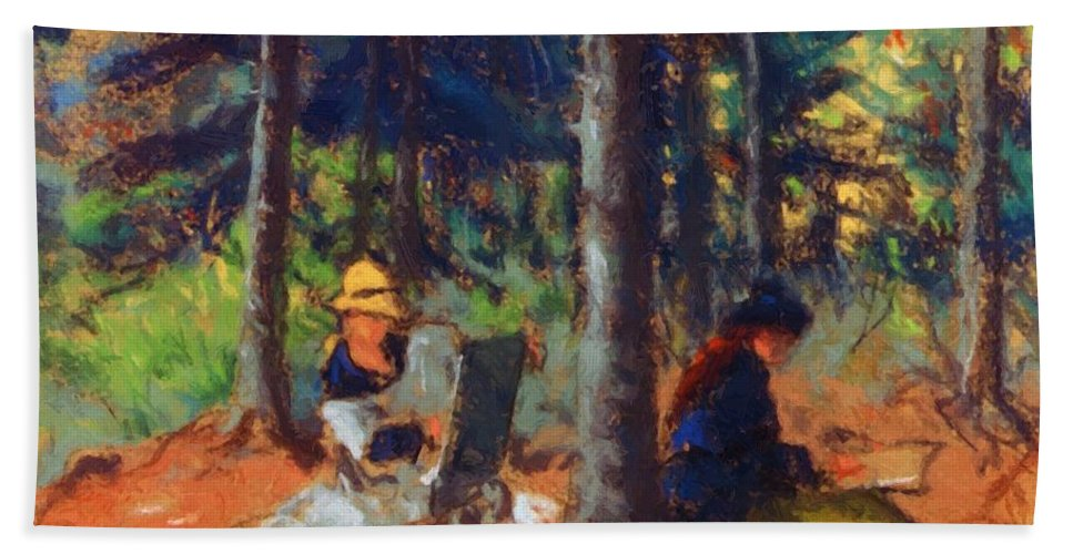 Artists Bath Sheet featuring the painting Artists In The Woods by Henri Robert