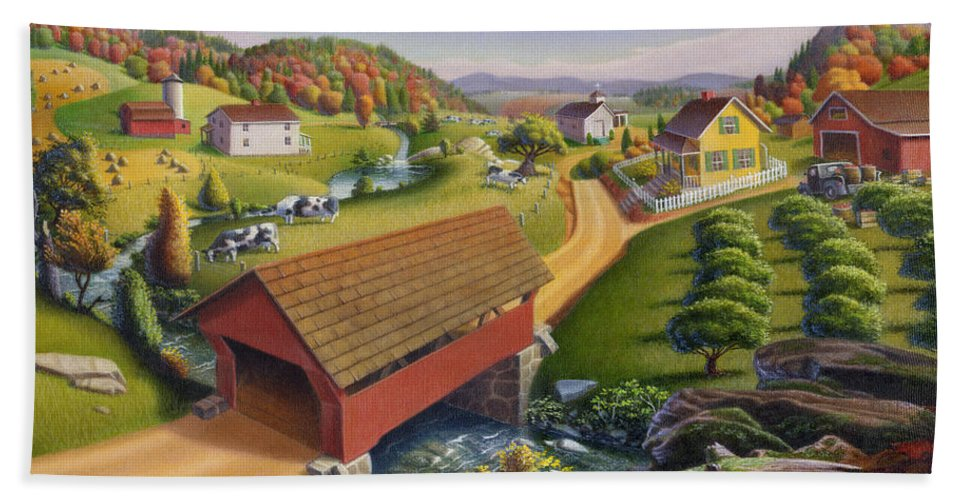 Covered Bridge Bath Sheet featuring the painting Folk Art Covered Bridge Appalachian Country Farm Summer Landscape - Appalachia - Rural Americana by Walt Curlee