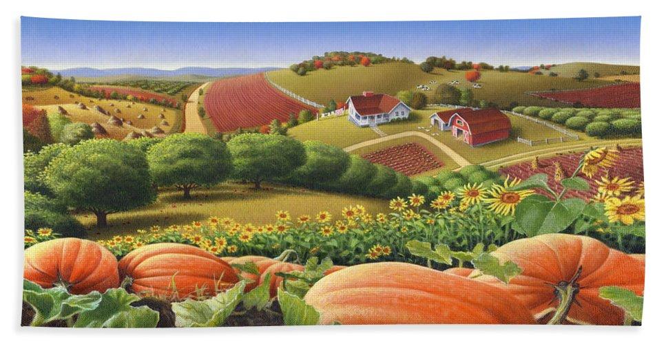 Pumpkin Bath Towel featuring the painting Farm Landscape - Autumn Rural Country Pumpkins Folk Art - Appalachian Americana - Fall Pumpkin Patch by Walt Curlee
