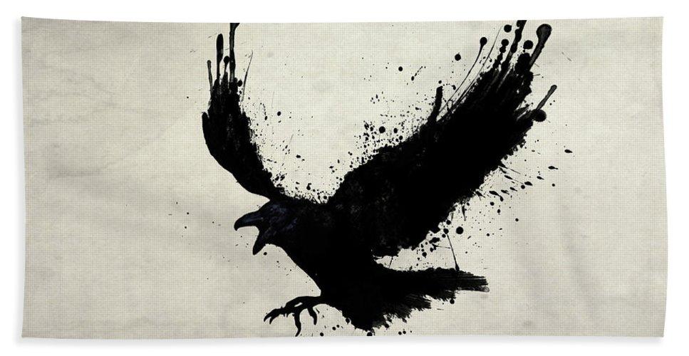 Raven Bath Towel featuring the digital art Raven by Nicklas Gustafsson