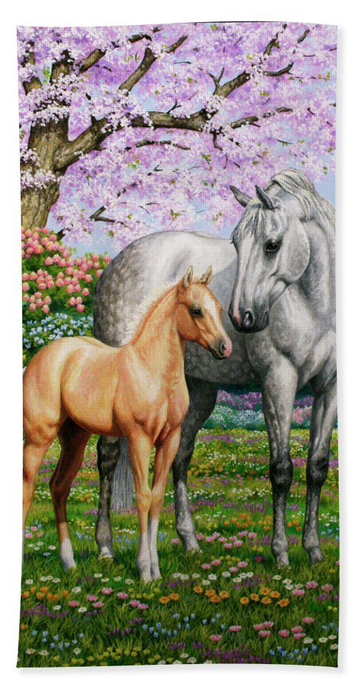 Horse Hand Towel featuring the painting Spring's Gift - Mare And Foal by Crista Forest