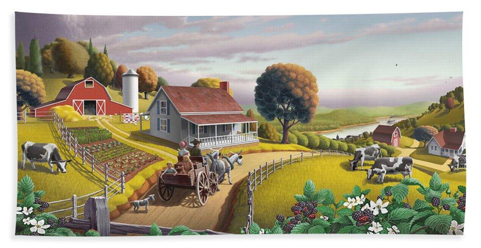 Farm Landscape Bath Towel featuring the painting Appalachian Blackberry Patch Rustic Country Farm Folk Art Landscape - Rural Americana - Peaceful by Walt Curlee