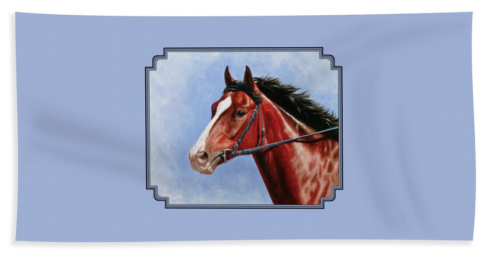 Horse Bath Towel featuring the painting Horse Painting - Determination by Crista Forest