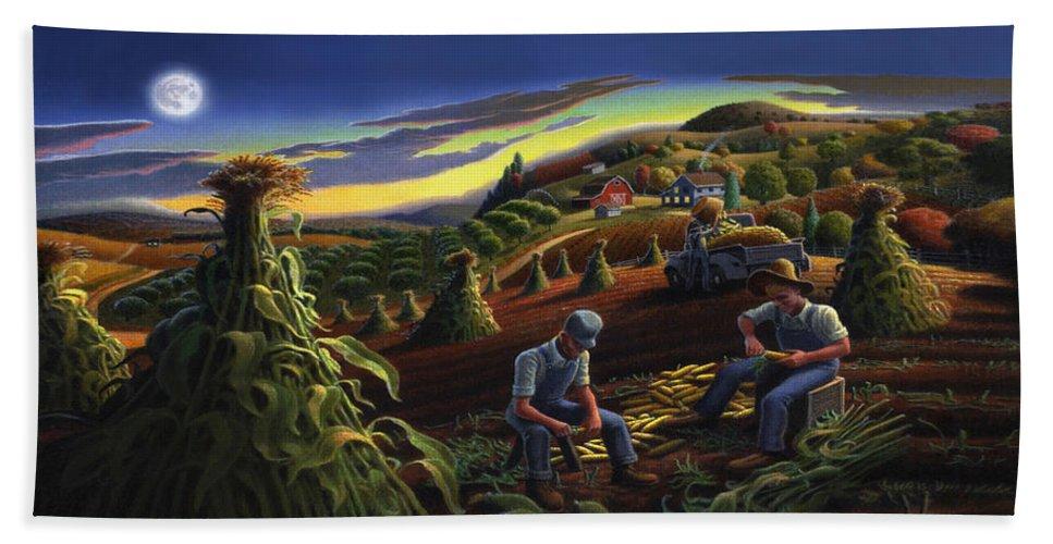 Autumn Bath Towel featuring the painting Autumn Farmers Shucking Corn Appalachian Rural Farm Country Harvesting Landscape - Harvest Folk Art by Walt Curlee