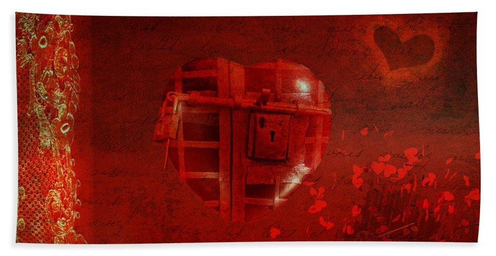 Amour Bath Sheet featuring the digital art Love Locked by Linda Lees